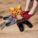 Ethnic Style Cowhide Leather Sandals Comfy Flower Slippers - MagCloset