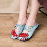 Cowhide Leather Ethnic Style Sandals Comfy Leisure Flower Slippers
