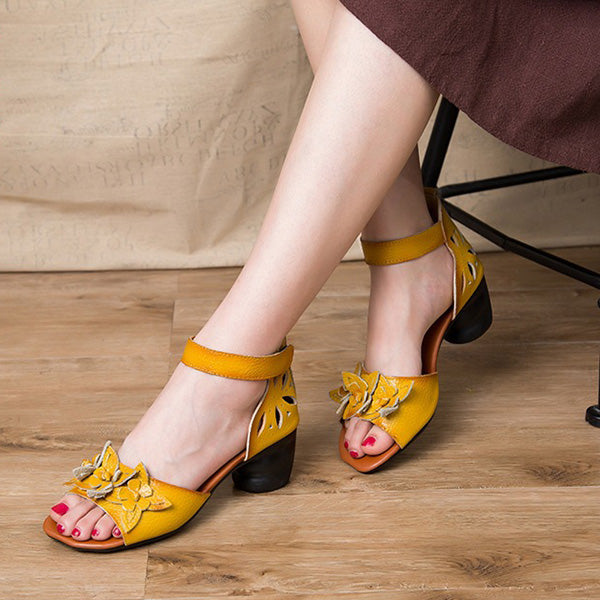 Retro Peep Toe Leather Mid Heel Hook Loop Flower Sandals