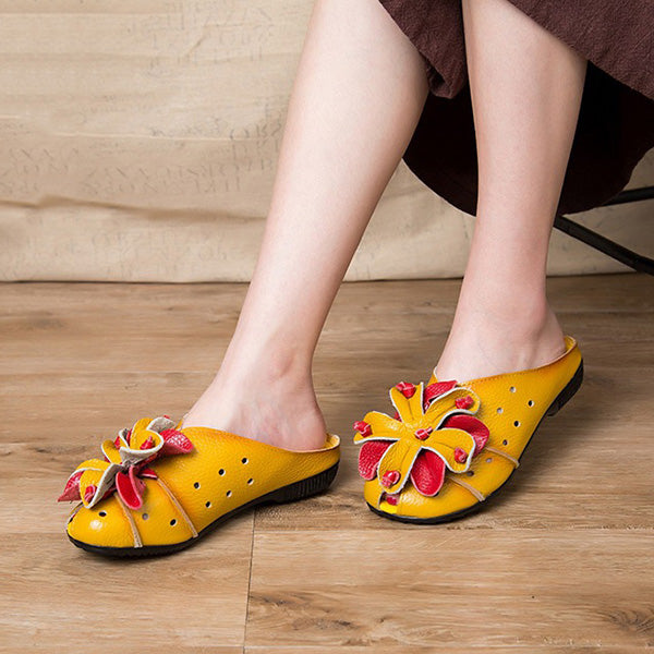Ethnic Style Cowhide Leather Sandals Comfy Flower Slippers