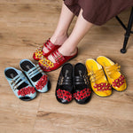 Cowhide Leather Ethnic Style Sandals Comfy Leisure Flower Slippers - MagCloset