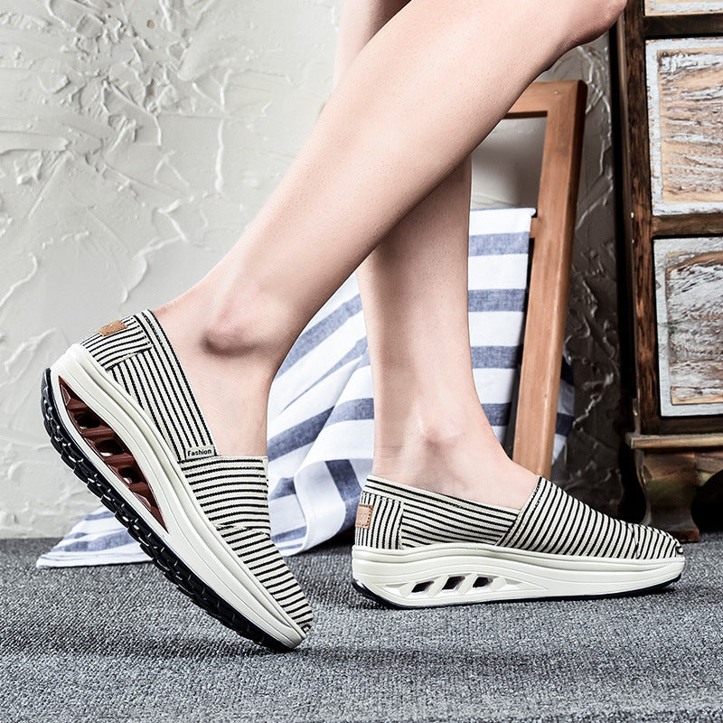 Fashion Casual Stripe Canvas Slip On Platform Rocker Bottom Shoes - MagCloset