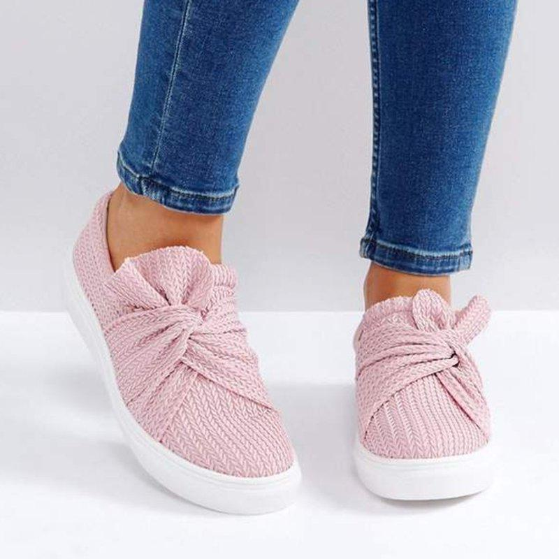 Women Knitted Twist Pink Slip On Flat Shoes