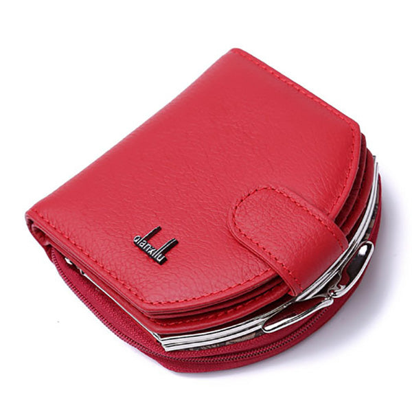Women Genuine Leather Coin Bag Patent Leather Wallet Purse