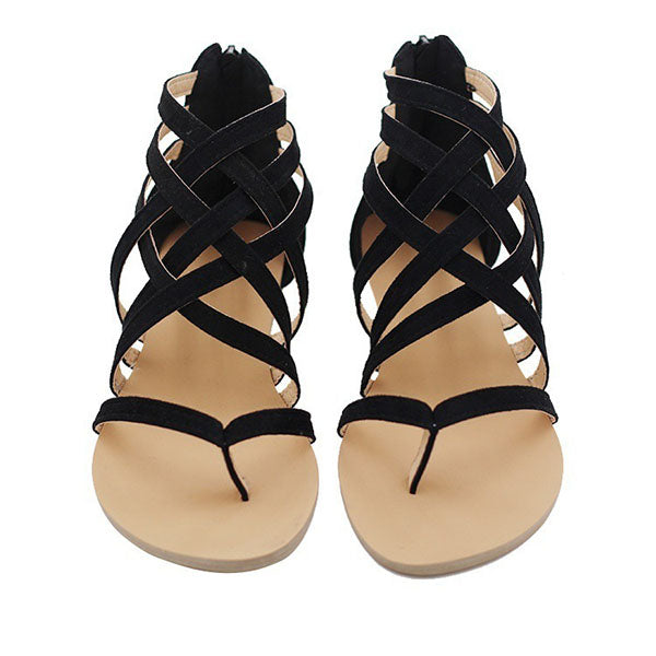 Large Size Zipper Gladiator Shoes Toe Sandals - MagCloset