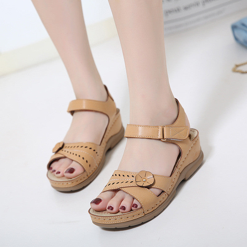 CLEARANCE-Retro Ethnic Trend Comfy Massage Soles Flower Wedge Sandals - MagCloset