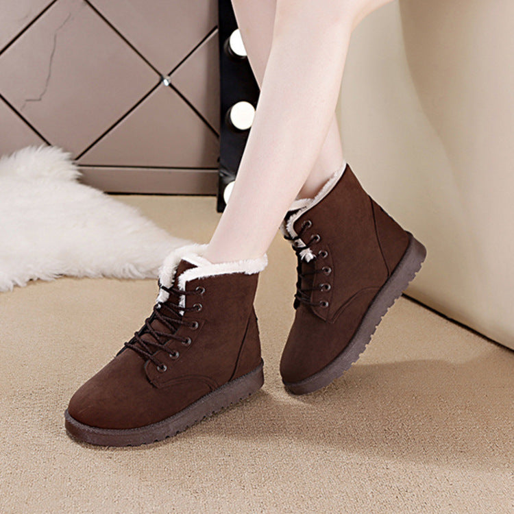 Large Size Women Keep Warm Lace Up Flat Ankle Snow Boots