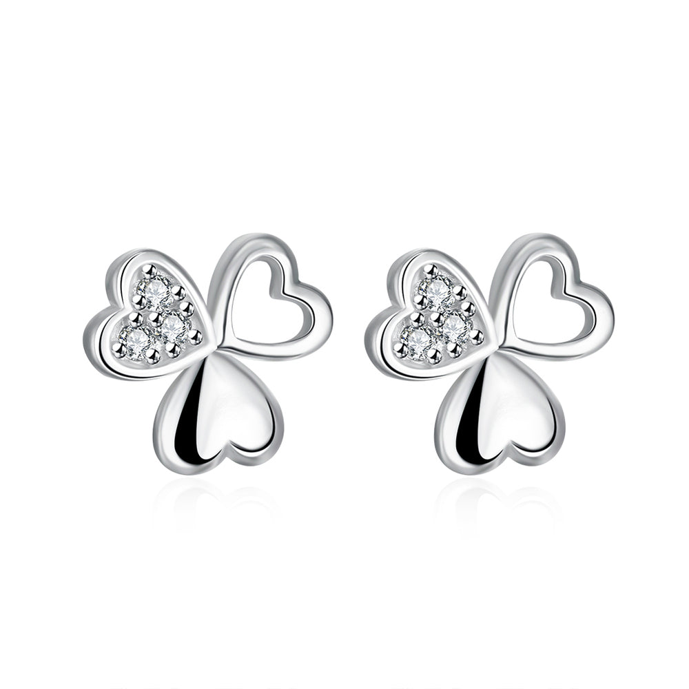 Clover Ear Studs Siver Plated Earrings - MagCloset