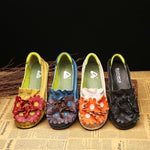 Retro Flower Loafers Cowhide Leather Handmade Flat Shoes