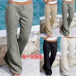 Breathe Loose Casual Beach Long Pants Cotton Linen Elastic Waist Straight Trousers