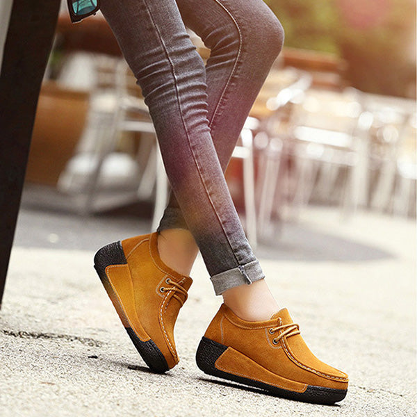 Cowhide Leather Round Toe Lace Up Leisure Platform Shoes - MagCloset