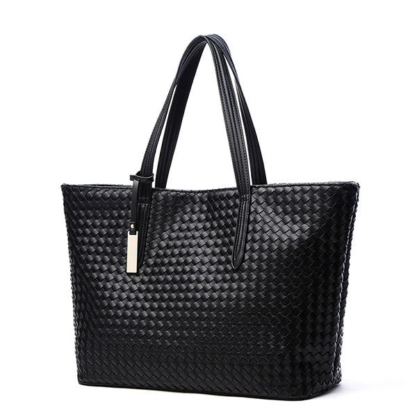 Simple Style PU Leather Handbag Braided Shoulder Bag