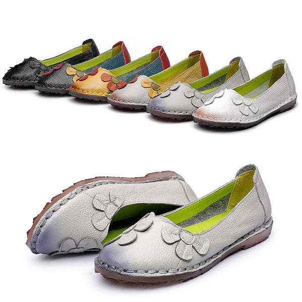 Cowhide Leather Shoes Floral Moccasin Flat Loafers - MagCloset