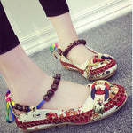 CLEARANCE-Bead Chain Knitting Butterflyknot Retro National Wind Lace Up Flat Shoes For Women