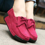 Slip On Cowhide Leather Leisure Tassels Comfy Platform Shoes