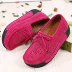 Breathable Slip On Cowhide Leather Tassels Comfy Leisure Platform Shoes