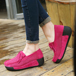Breathable Slip On Cowhide Leather Tassels Comfy Leisure Platform Shoes - MagCloset