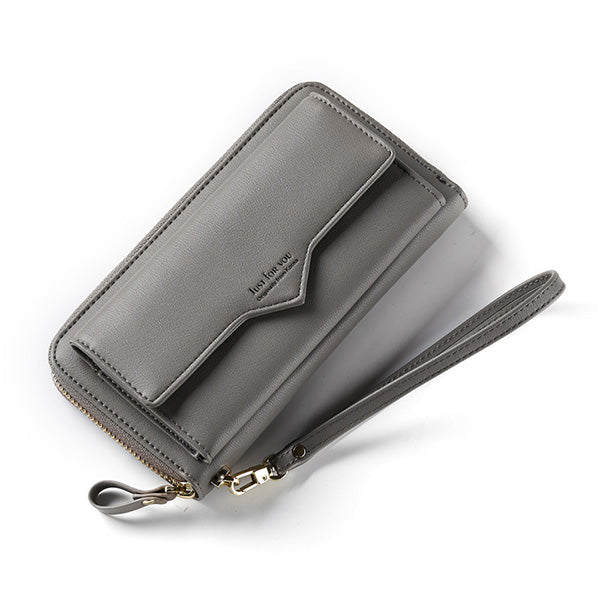 Fashion Pu Leather 12 Card Slots Zipper Phone Wallet Clutch Bag - MagCloset