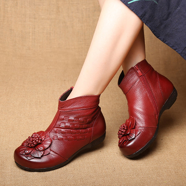 Genuine Leather National Style Retro Flower Warm Boots