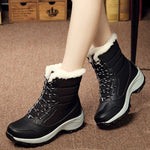 New Fashion Winter Fur Lining Lace Up Waterproof Mid-Calf Boots