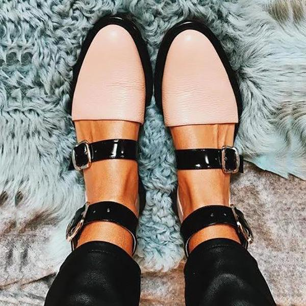 Fashion Low Heel Color Block Buckled Flats