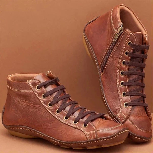 Casual Round Toe Lace Up Zipper Flat Boots
