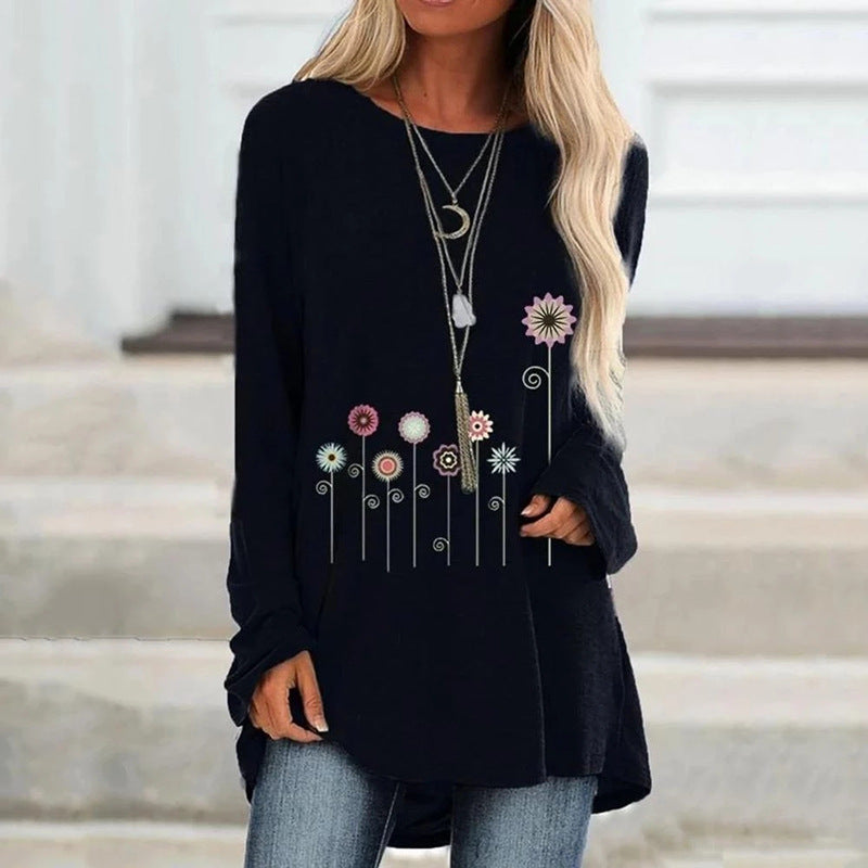 Floral Printed Long Sleeved Crew Neck T-shirt