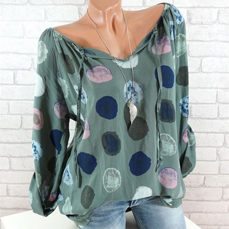 Women Polka Dots V-neck Long Sleeve Blouse Shirts