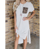 Leopard Pocket Stitching Slit Casual Dress