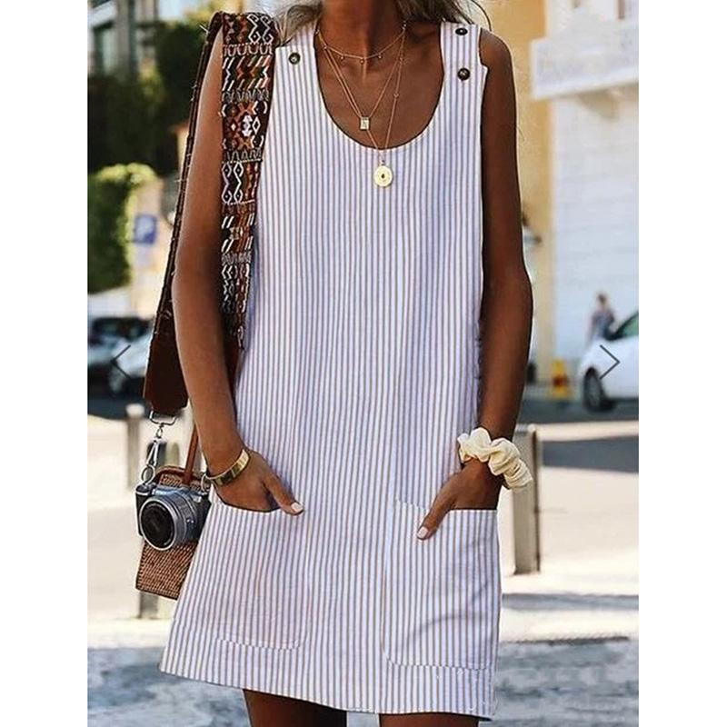 Women Strap Button Shift Daily Pockets Striped Dresses