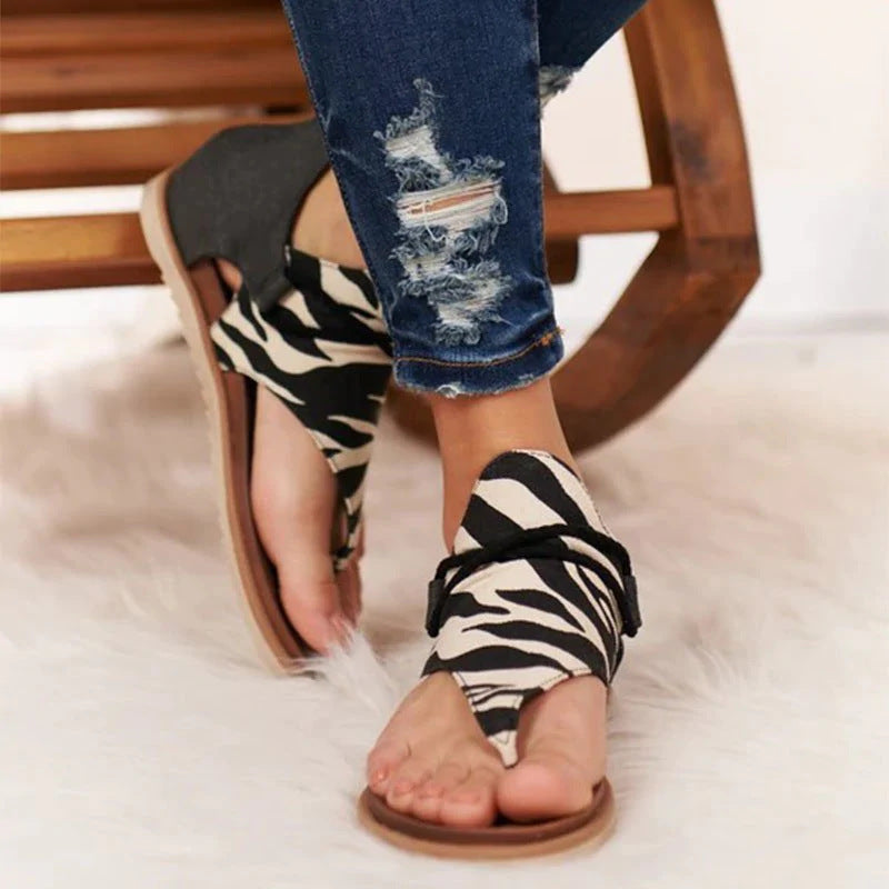Fashion Printed Artificial Leather Thong Sandals