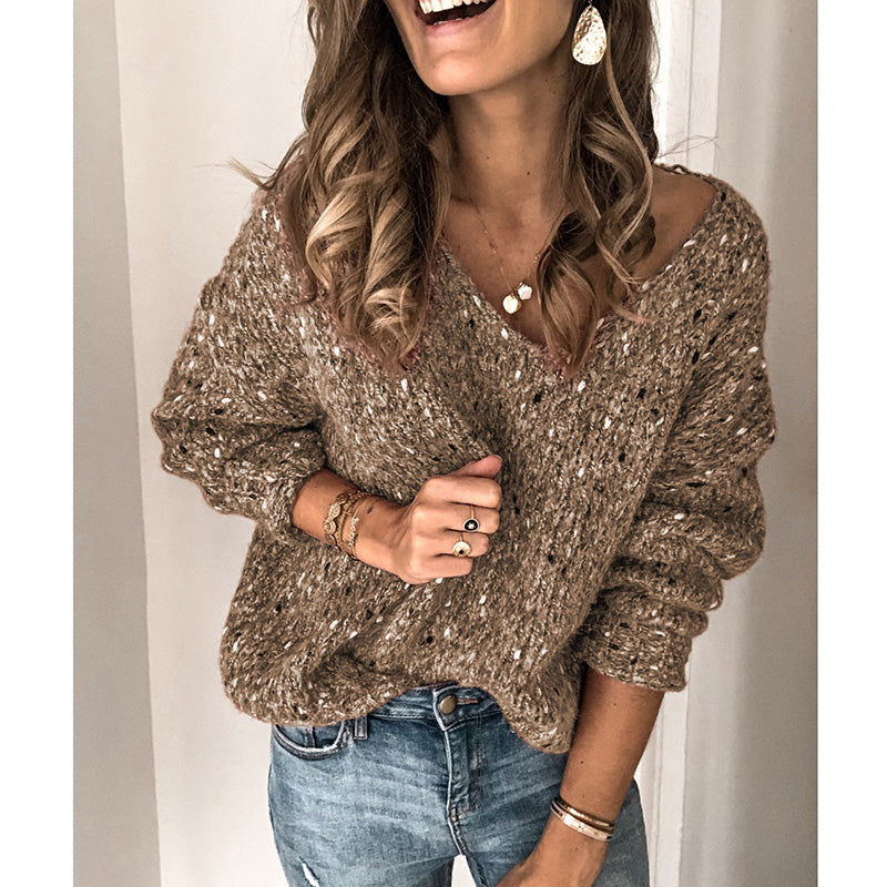 Solid Color Knitwear Casual V-neck Sweater