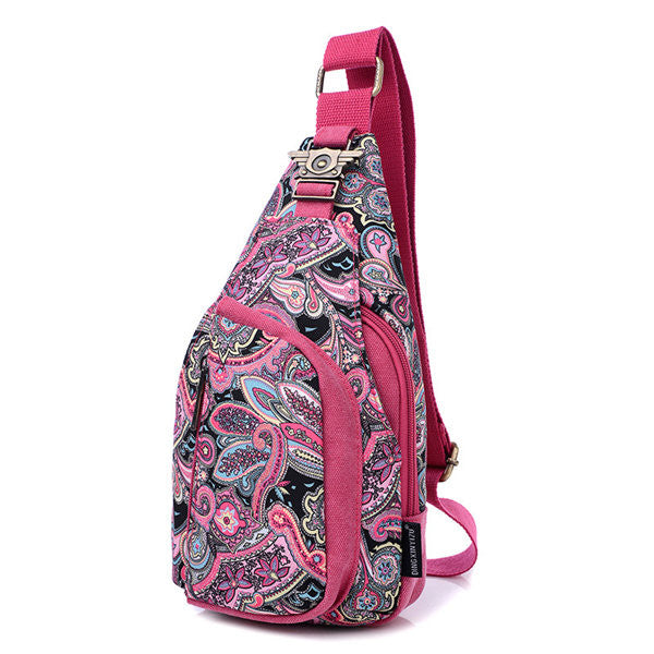CLEARANCE-Women Flower Pattern Portable Casual Shoulder Bags Chest Bags