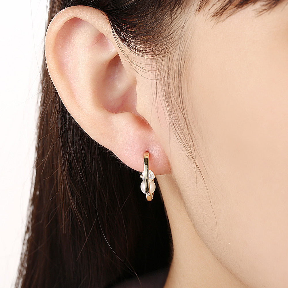 Gold Plated Earrings with Zircon & Pearl - MagCloset