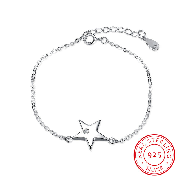 Star with Zircon 925 Sterling Silver Chain Bracelet