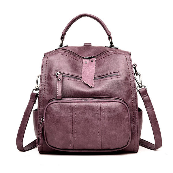 Multi-functional Leather Bag Shoulder Bag Backpack Travel Bag For Women