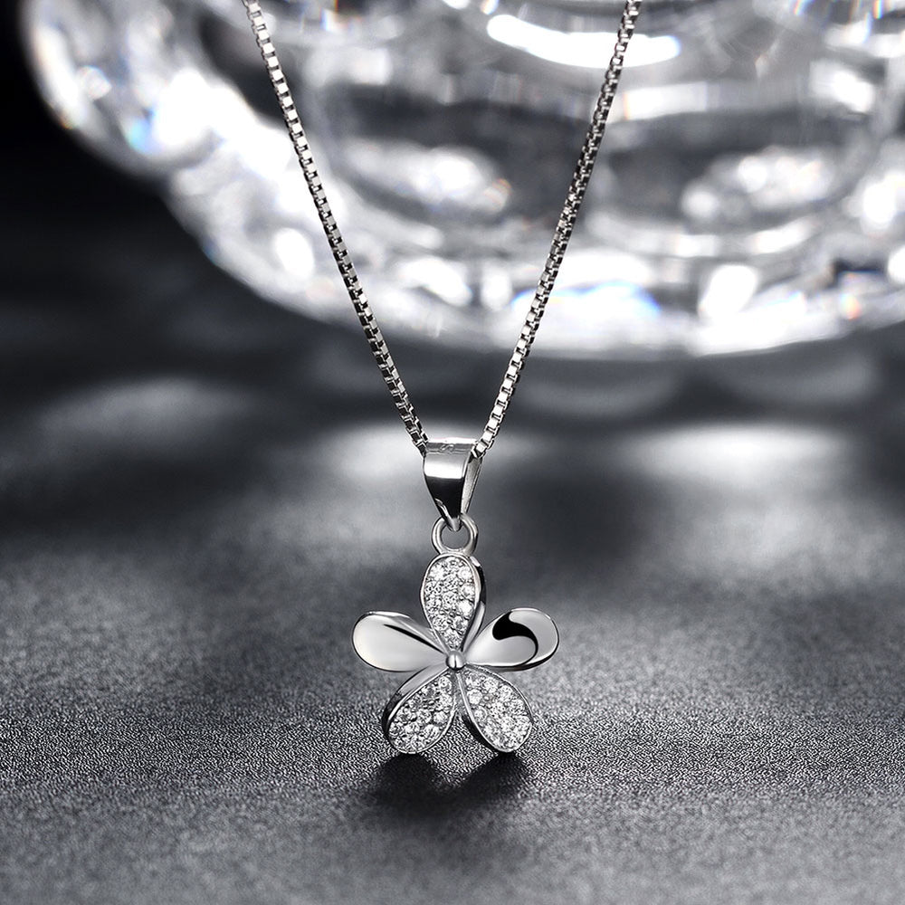 925 Sterling Silver Five-Leaf Clover Pendant Necklace - MagCloset