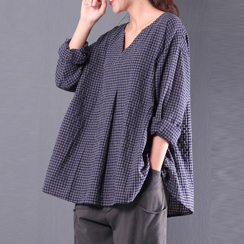 Casual 3/4 Sleeve Linen Gingham Folds Plus Size Blouse