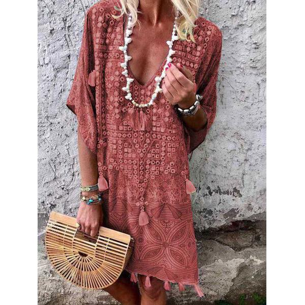 Summer Floral Tassel Sexy V Neck Fashion Sundress