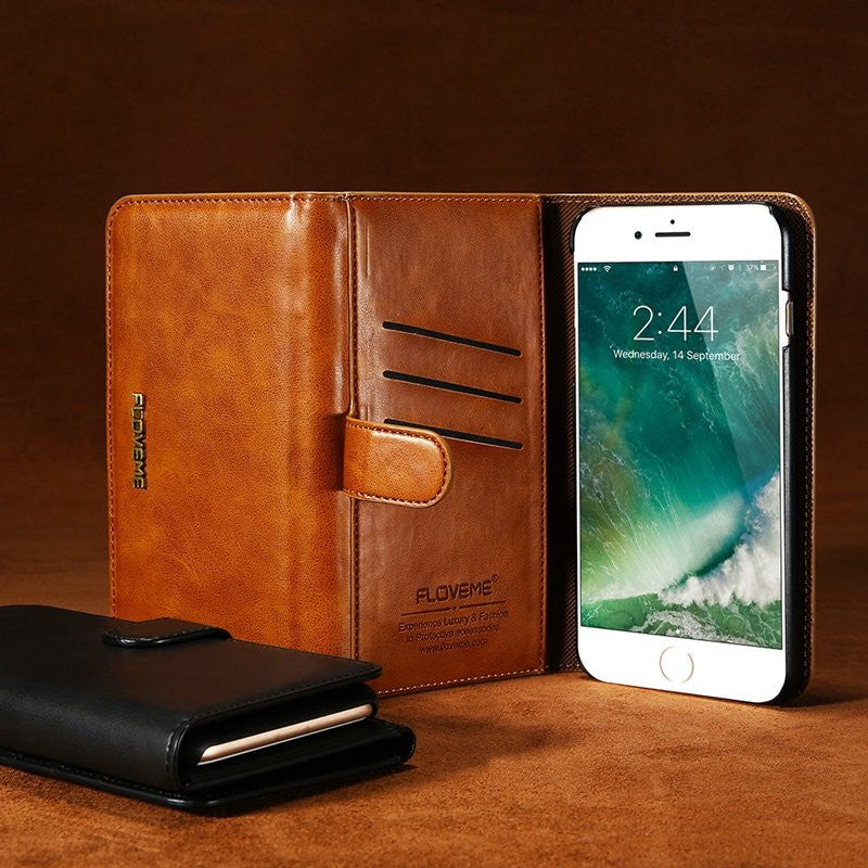 CLEARANCE-For iPhone7Plus 5.5 Inch Magnetic Detachable Phone Case Vintage Leather Wallet Case