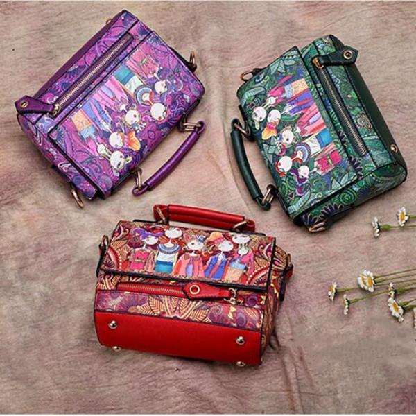 Bohemian Forest Series Printed Crossbody Bag Large Capacity Handbag