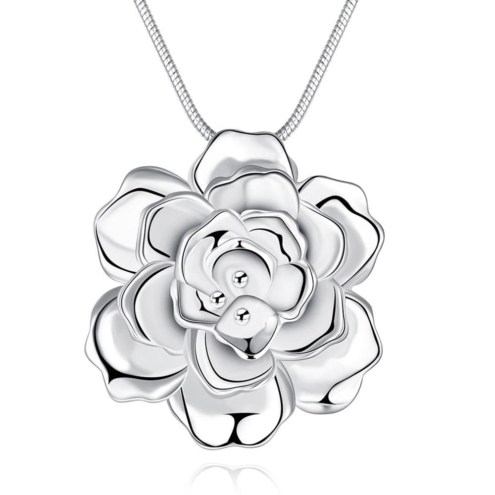 Romantic Silver Plated Flower Pendant Necklace
