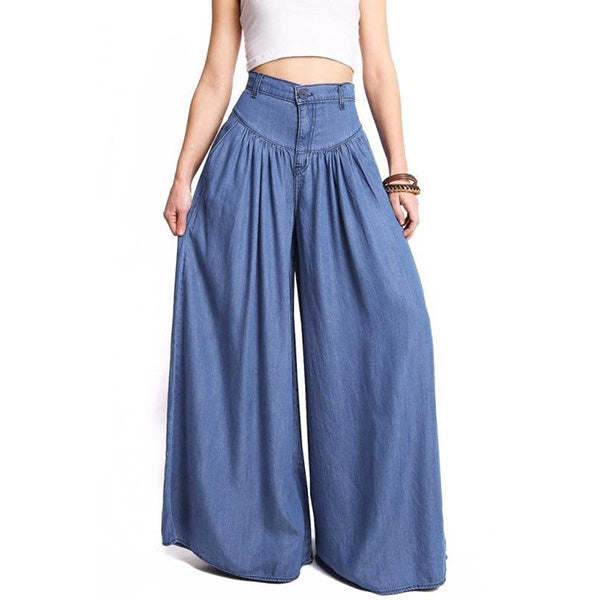 Simple Fashion High Waist Solid Wide Leg Loose Denim Pants