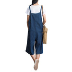 Loose Solid Strap Pocket Jumpsuit Trousers Overalls