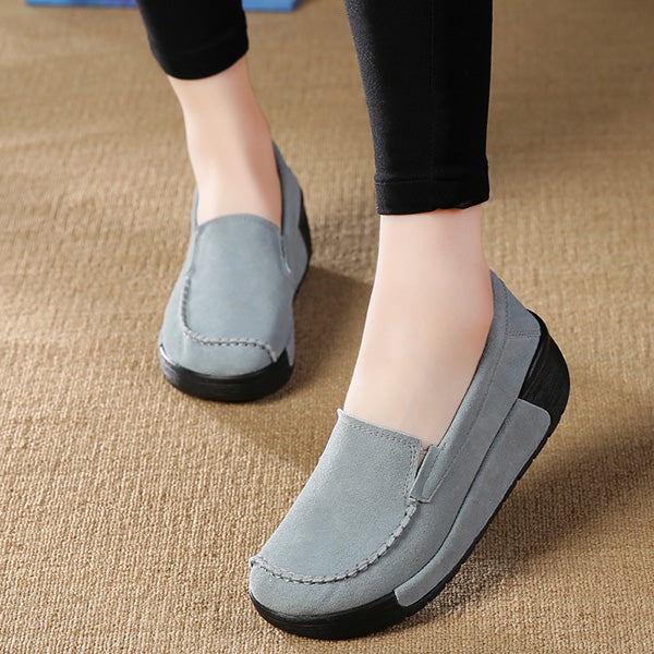 Women Leather Comfy Rocker Bottom Shoes Elegant Leisure Platform Shoes