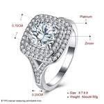 Square Diamond Hearts and Arrows Ring