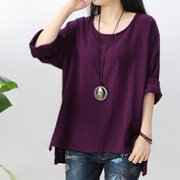 Women Oversized Vintage Round Neck Long Sleeve Casual Loose Tops