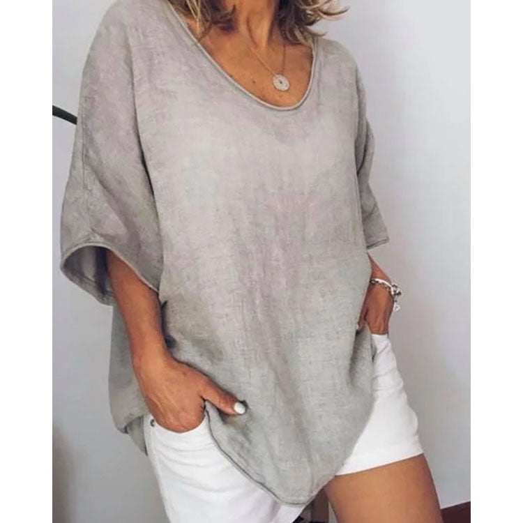 Plus Size Pure Color Summer Simple Cotton Linen T-Shirts