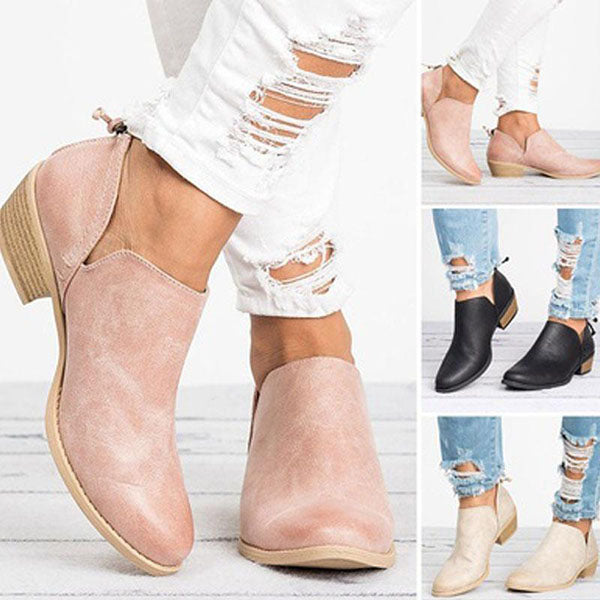 Casual Chunky Heel Short Boots