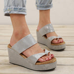 Large Size Slip On Thong Wedge Sandals Slippers